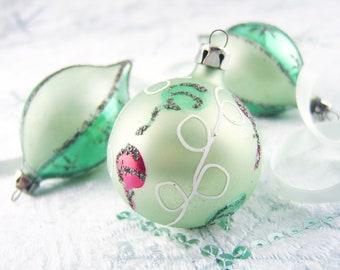 mint green ornaments small poland glass christmas bulbs vintage pastel green teardrop christmas tree ornaments hand painted glass - Pastel Green Christmas Decorations