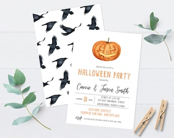 Halloween Party Invitation   Pumpkin Invitations   Halloween Birthday Invite   Haunted House   Costume Party   Printable   Instant Download