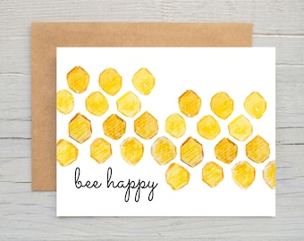 Card for Bee Lovers   Bee Greeting Card   Honey Bee   Bumble Bee   Bee Happy   Yellow Honeycomb Card   Happy Mail   For Her   For a Friend