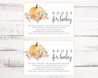 Little Pumpkin Books for Baby Insert   Baby Shower Printable Insert   Template Instant Download   Pumpkin Stock the Library   Book Request