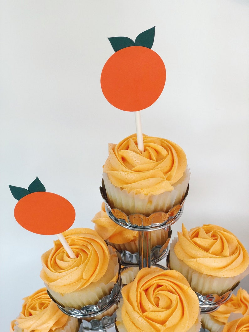 Little Cutie Baby Shower Decorations Cupcake Toppers  Orange image 0