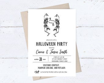 Halloween Party Invitation   Skeleton Invitations   Halloween Birthday Invite   Haunted House   Costume Party   Printable   Instant Download
