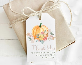 Little Pumpkin Baby Shower Thank You Tags for Party Favours   Printable Favour Tags for Thank You Gifts   Fall Baby Shower Gift Tags