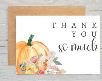 Printed Little Pumpkin Thank You Card With Envelope   Pumpkin Thank You   Fall Baby Shower   Birthday Party   Thank You Card