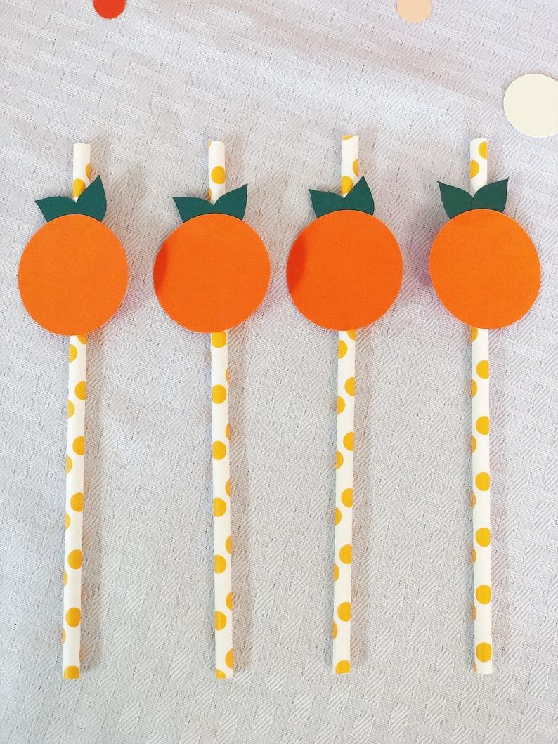 Little Cutie Baby Shower Decorations Paper Straws  Orange image 0
