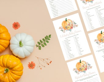 Little Pumpkin Baby Shower Games   Printable Instant Download Bundle of 12 Games   Download and Print for Fall Baby Shower