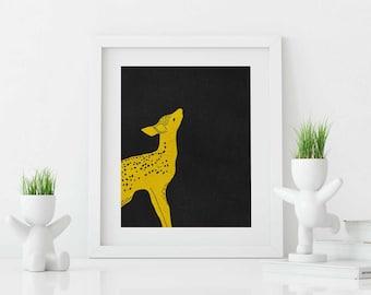 Printable digital art - GOLD BAMBI,  8x10 inch, wall decor