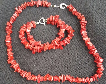 Polished Red Jasper set - necklace and bracelet with silver clasp