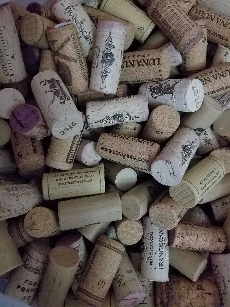 Printed Used Wine Corks SYNTHETIC  Crafts Projects Favors Art QTY 50