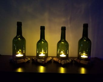 Hurricane lamp, Wine Bottle Candle Holders, Wine Bottle Lamp Set of 4