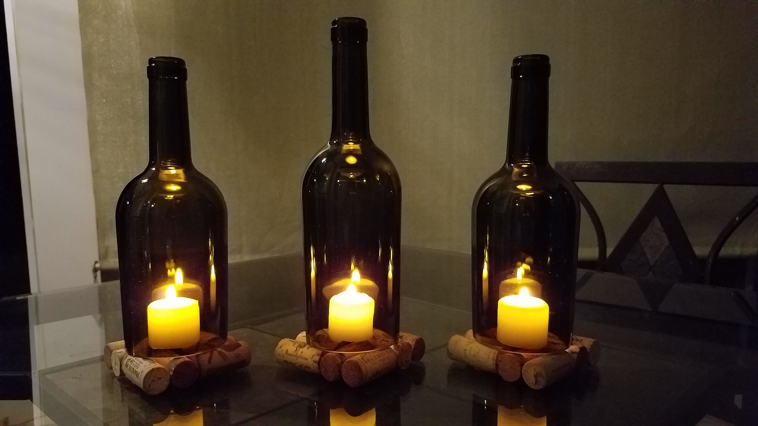 Wine Bottle Candle Holders