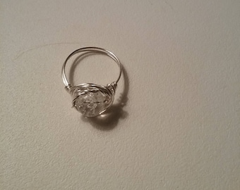 Silver Ring Size 7  Silver wire wrap glass  bead