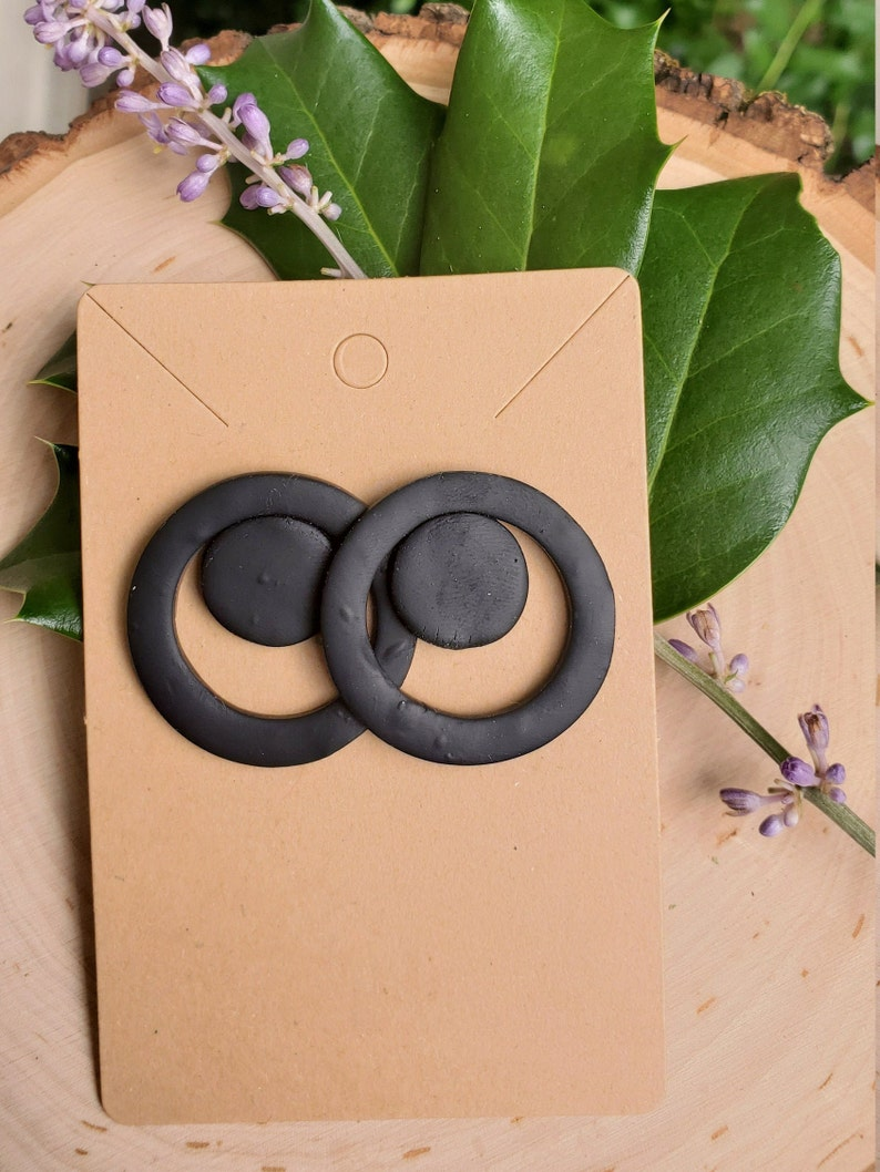 Round black polymer clay large stud earrings