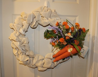 Burlap Easter wreath with florals and carrots