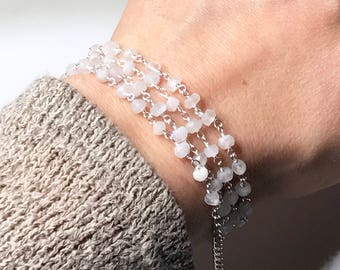 """Faceted Moonstone Beaded Strand 24"""""""