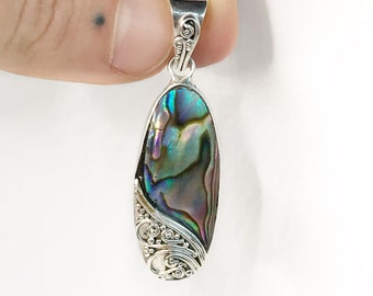 Bright Abalone Shell Pendant Handmade Sterling Silver