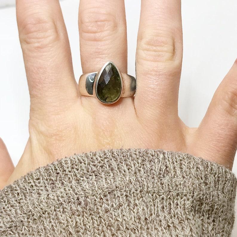 Sterling Silver Green Moldavite Ring Cosmic Moldavite Ring US 8.25 Birthstone Jewelry Tektite Moldavite Jewelry