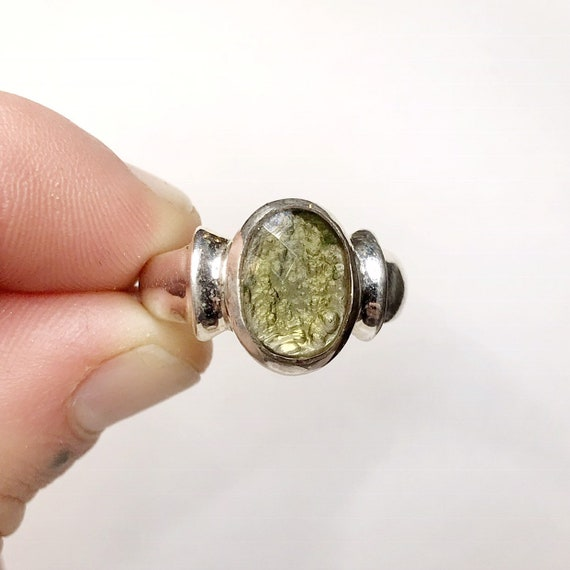 Faceted Moldavite Ring US 7.75 Birthstone Jewelry Greenstone Ring Birthstone Jewelry Moldavite Engagement Ring Sterling Silver