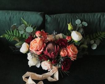 Bohemian Bridal Bouquet // Burgundy & Pink // Bridal Bouquet, Wedding Bouquet, Boho Bouquet