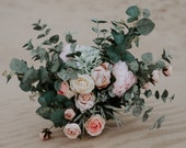 Romantic Hand Gathered Boho Bouquet // Pink & Green // Bridal Bouquet, Watercolor Bouquet, Wedding Bouquet