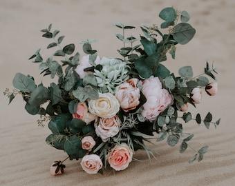 Green bridal bouquet etsy romantic hand gathered boho bouquet pink green bridal bouquet watercolor bouquet wedding bouquet mightylinksfo
