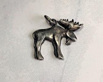 Vintage Sterling Silver Moose Pendant