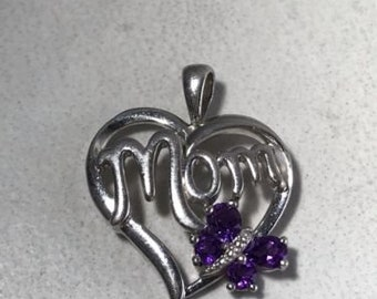 """Vintage Sterling Silver """"Mom"""" Pendant with Purple Stones"""