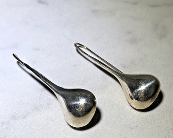 Vintage Sterling Silver Mexico Large Drop Earrings