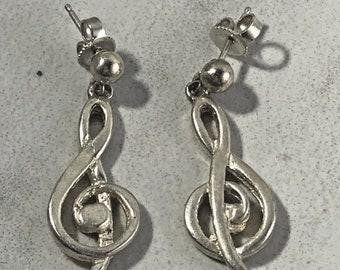 Vintage Sterling Silver Music Note Drop Earrings
