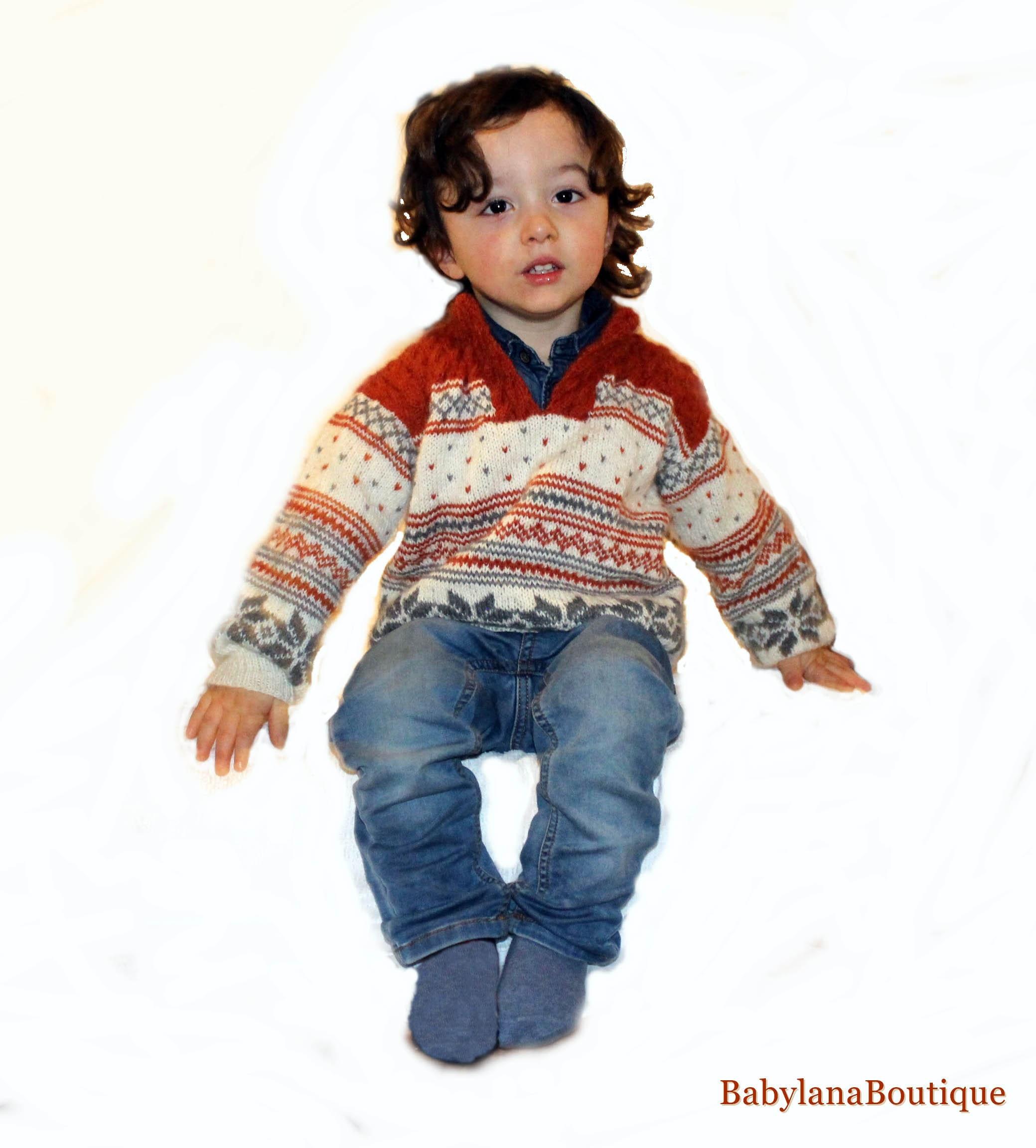 Baby nordic sweater newborn hand knitted Scandinavian alpaca  580fa4128213