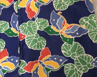 "Vintage 80s Wellman Butterfly Upholstery Fabric Bold Royal Blue Green Yellow Red Screen Print 52"" wide Polished Cotton BTY"