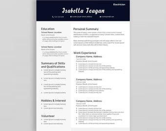 Creative Resume Template | Professional CV Template | Modern Resume Template| Resume Cover Letter | CV Design| Resume Template with Picture