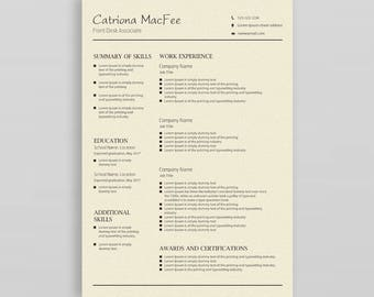 Modern Resume| Professional Resume Template |Resume Template Word | CV Design |Resume Template Creative | Resume Template Instant Download