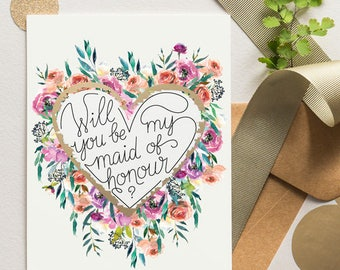 Ask Bridesmaid -  Maid Of Honor Proposal - Scratch Off Card Heart Floral Bloom 16