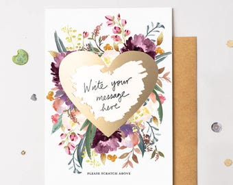 Scratch Off Card Heart Gold Floral Bloom 17 - Write Your Own Message
