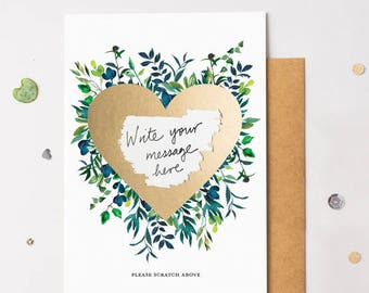 Floral Bloom 14 Scratch Off Card Heart Gold - Write Your Own Message