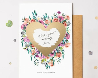 Floral Bloom 16 Scratch Off Card Heart Gold - Write Your Own Message