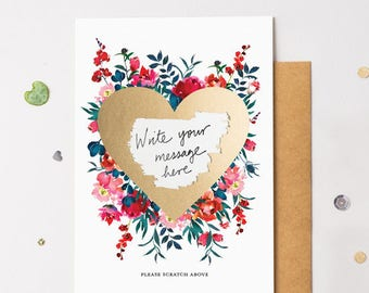 Floral Bloom 11 Scratch Off Card Heart Gold - Write Your Own Message