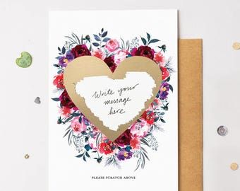 Floral Bloom 15 Scratch Off Card Heart Gold - Write Your Own Message
