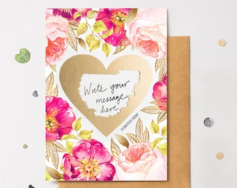 Floral 2 Scratch Off Card Heart Gold - Write Your Own Message