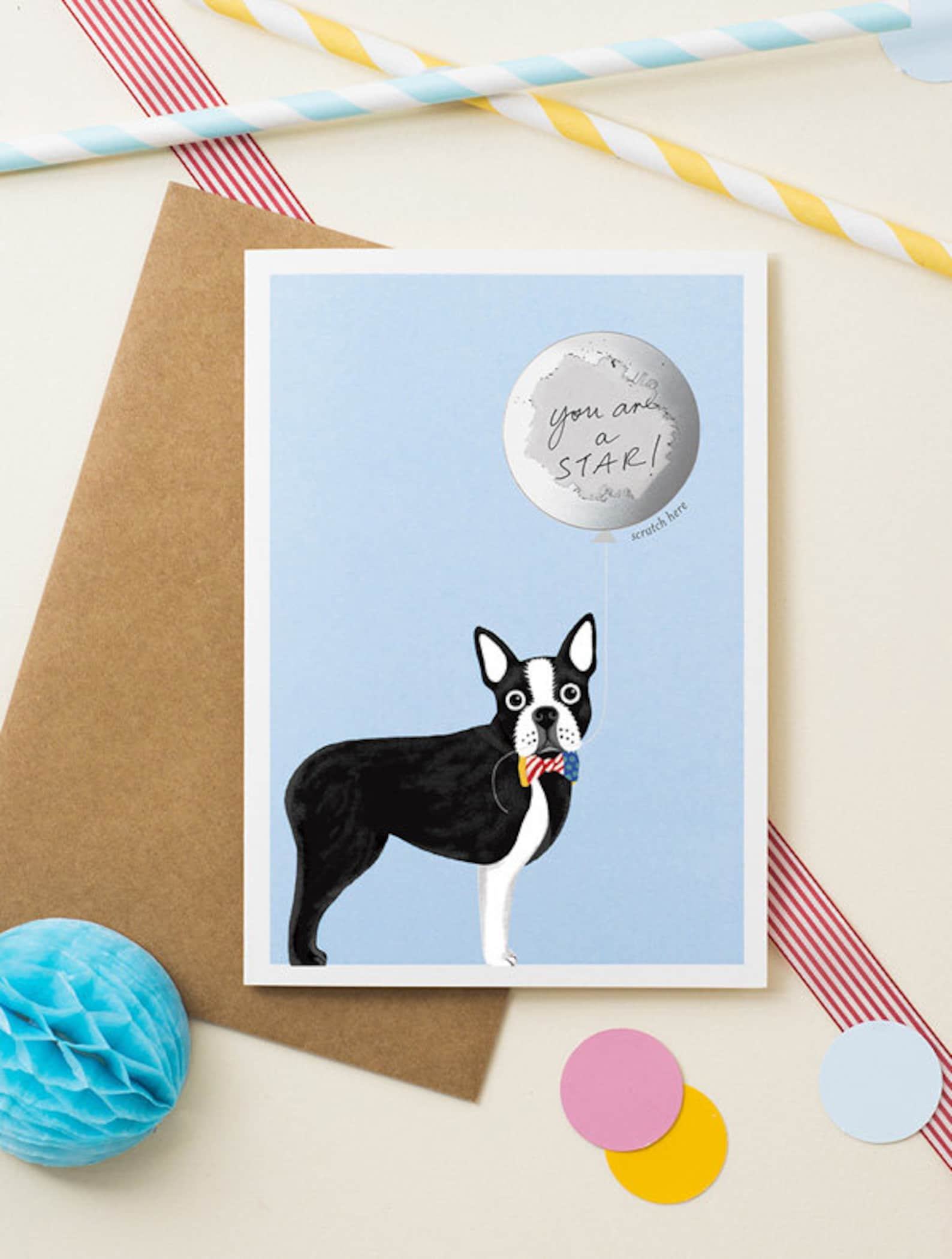 Boston Terrier Dog Birthday Card