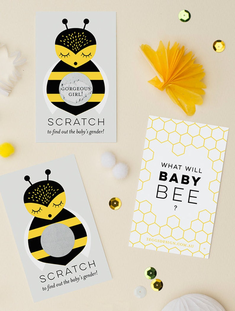 Baby Shower Boy or Girl Pregnancy Announcement 12 or 24 Pack What Will Baby Bee Gender Reveal Scratch Off Cards Gender Reveal Party Game