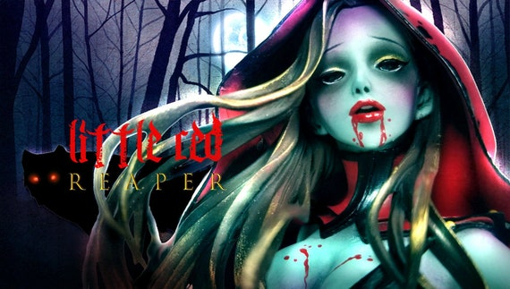 Unpainted Resin Kit Figurine LITTLE RED REAPER | Little Red Riding Hood | Death | Undead Zombie