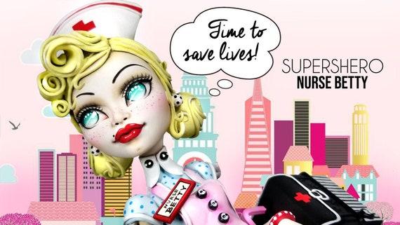 Doll Figurine Repaint NURSE BETTY | Supershero | Superhero | Monster High Ooak Repaint
