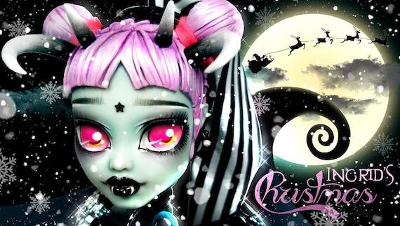Doll Figurine Repaint INGRID A Dark Gothic Christmas | Jack the Skeleton | Monster High Ooak Repaint