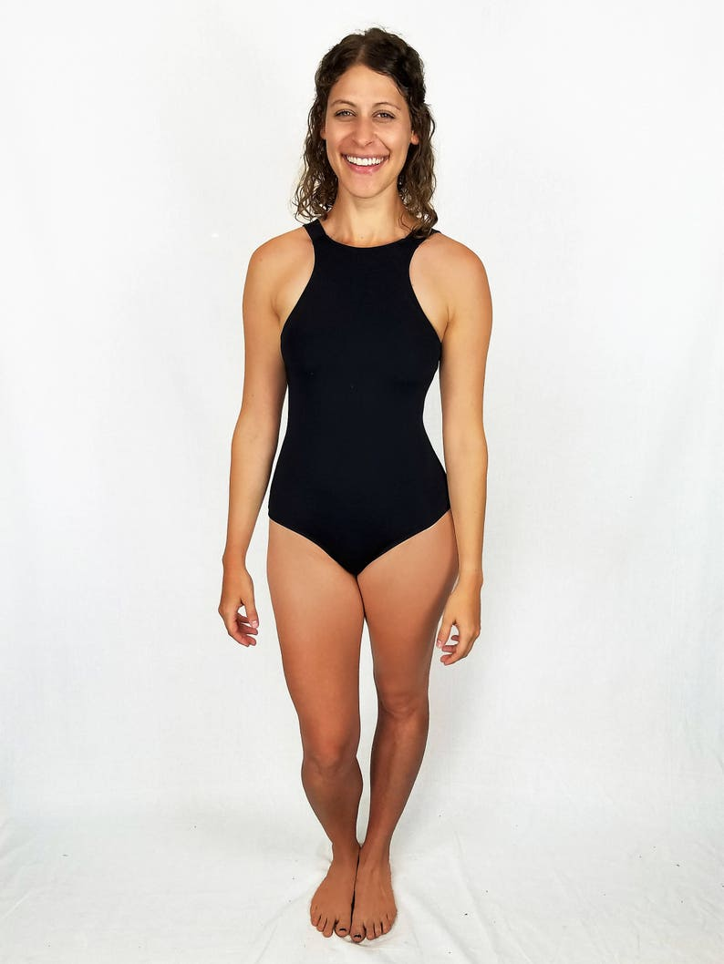 3ce1bcaf6500b Retro Low Hip Black One Piece Swimsuit Mid Open Back High | Etsy