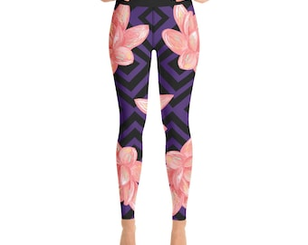 e2051dd35956e Yoga Fitness Leggings, Pink Lotus Leggings, Lotus Pink Flower Workout  Leggings