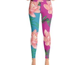 61b370c043af9c Yoga Fitness Leggings, Lotus Leggings, Lotus Pink Flower Workout Leggings