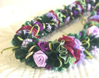 Purple Rose Hawaiian Ribbon Lei Wedding Graduation Christmas gift Present