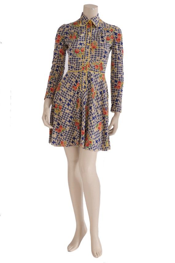 1960 mini dress geometric&flower motif